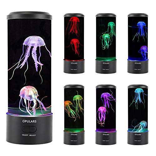 Jellyfish Lamp Lava Lamps for Kids Adults,OPULARS Mood Lighting Cool Lights Table Lamp with Color Changing,Nightstand Lamp Friendship Lamps Jellyfish Aquarium Night Light Gifts for Kids Dad and Mom