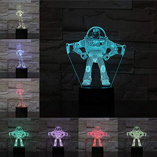 Only 1 Piece Kids Toy 3D Illusion LED Lamp Colourful Touch Night Light Desk Lamp Buzz Lightyear Cartoon Anime Toys for Kid