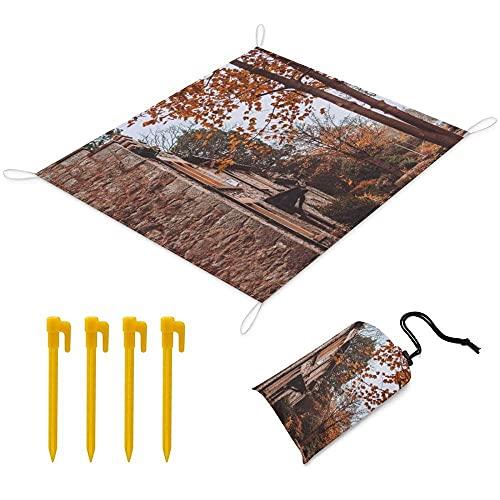 Manta Picnic 200x145 cm Alfombra de Playa con 1 Bolsas y 4 Clavos Fijos Impermeable Plegable Camping Accesorios para la Playa Camping y Picnic - Bosque de otoño
