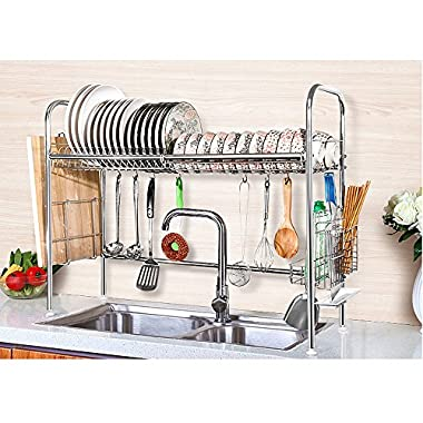 NEX Dish Drying Rack Stainless Steel Dish Storage with Chopstick Holder Rrustless(Single-layer)