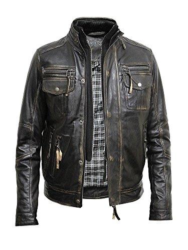 BRANDSLOCK Vintage Mens Alle Bikerjacke aus Leder Vintage Washed Schwarz Biker Stil Crinkle Retro (2XL, SCHWARZ)