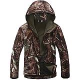 Fochu@ Hombres impermeable al aire libre polar caza Tactical Softshell chaqueta con capucha abrigo (Camuflaje del árbol, Español tamaño XL / Fabricante tamaño XXL)