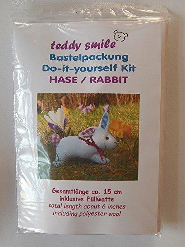 teddy smile - Bastelpackung Hase für die Fertigung Eines Einfachen Deko-Hasen Ohne Gelenke. Gesamtlänge ca. 15 cm.