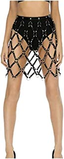 Women Adjustable Hollow Out Punk Leather Cage Weaved Body Harness Skirts Belt Waist Leg Garter Belt with Metal O-Rings Studs Club Party Dance Costume Sexy Women Harness (Color : Black, Size : M)