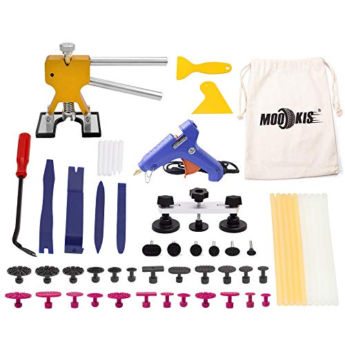 Mookis Dent Removal Tools 51PCS Paintless Dent Repair Tools Kit with Auto Trim Tools, Dent Puller, Pops a dent Bridge Puller