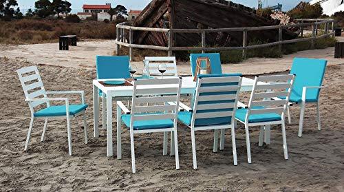 Hévéa Table et fauteuils en Aluminium 8 Personnes Opal