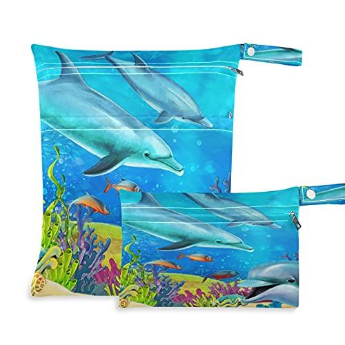 Tropicallife 2 bolsas húmedas secas impermeables con dos bolsillos con cremallera, para viajes, playa, piscina, guardería, yoga, gimnasio, bolsa lavable para trajes de baño, ropa húmeda, 2 unidades