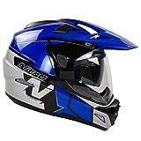 Nitro MX670 Podium Adventure - Casco para motocicleta, color negro, azul y plateado