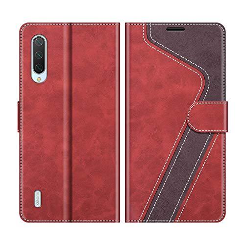 MOBESV Handyhülle für Xiaomi Mi 9 Lite Hülle Leder, Xiaomi Mi 9 Lite Klapphülle Handytasche Hülle für Xiaomi Mi 9 Lite Handy Hüllen, Modisch Rot