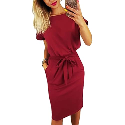 Longwu Womens Elegant Comfortable Casual Short Sleeve Pencil Dress with Belt Pockets for Work//Lounge Wear