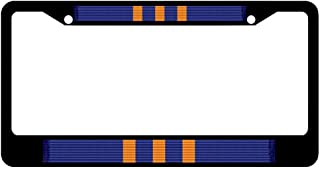 Navy Meritorious Civilian Service Award Medal Ribbon Customizable License Plate Frame Stainless Steel, Black Auto Car Truck Plate Frame, Military Car Tag Cover, 2 Holes and Screws