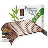 Green'n'Modern Sofatablett rutschfest - Holz Bambus Getränkehalter Armlehne   Couch Tablett flexibel als Sofa Butler   Sofa Tablett Armlehne als Sofa Ablage   Armlehnentablett (Braun)
