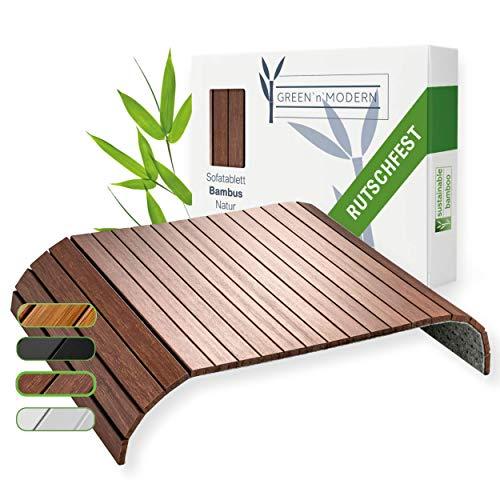 Green'n'Modern Vassoio per divano, antiscivolo, in legno di bambù, portabibite, per divano, da usare in divano, come ripiano per il divano, come ripiano per il divano, vassoio per i braccioli (marrone)