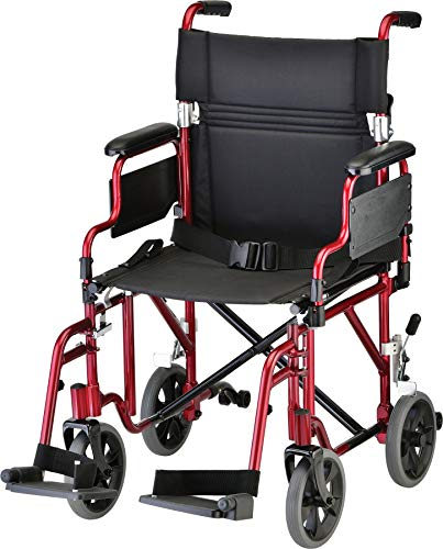 NOVA Medical Products Lightweight Transport Chair with Removable & Flip Up Arms for Easy Transfer, Anti-Tippers Included, Red