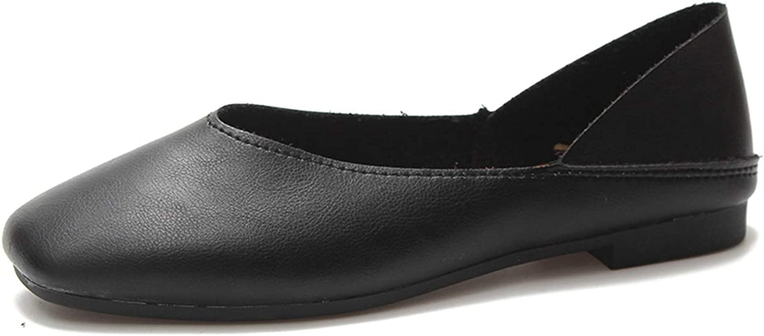 Owen Moll Women Flats, Soft Leather Loafers Slip-On Two Uses Shallow Ballet shoes