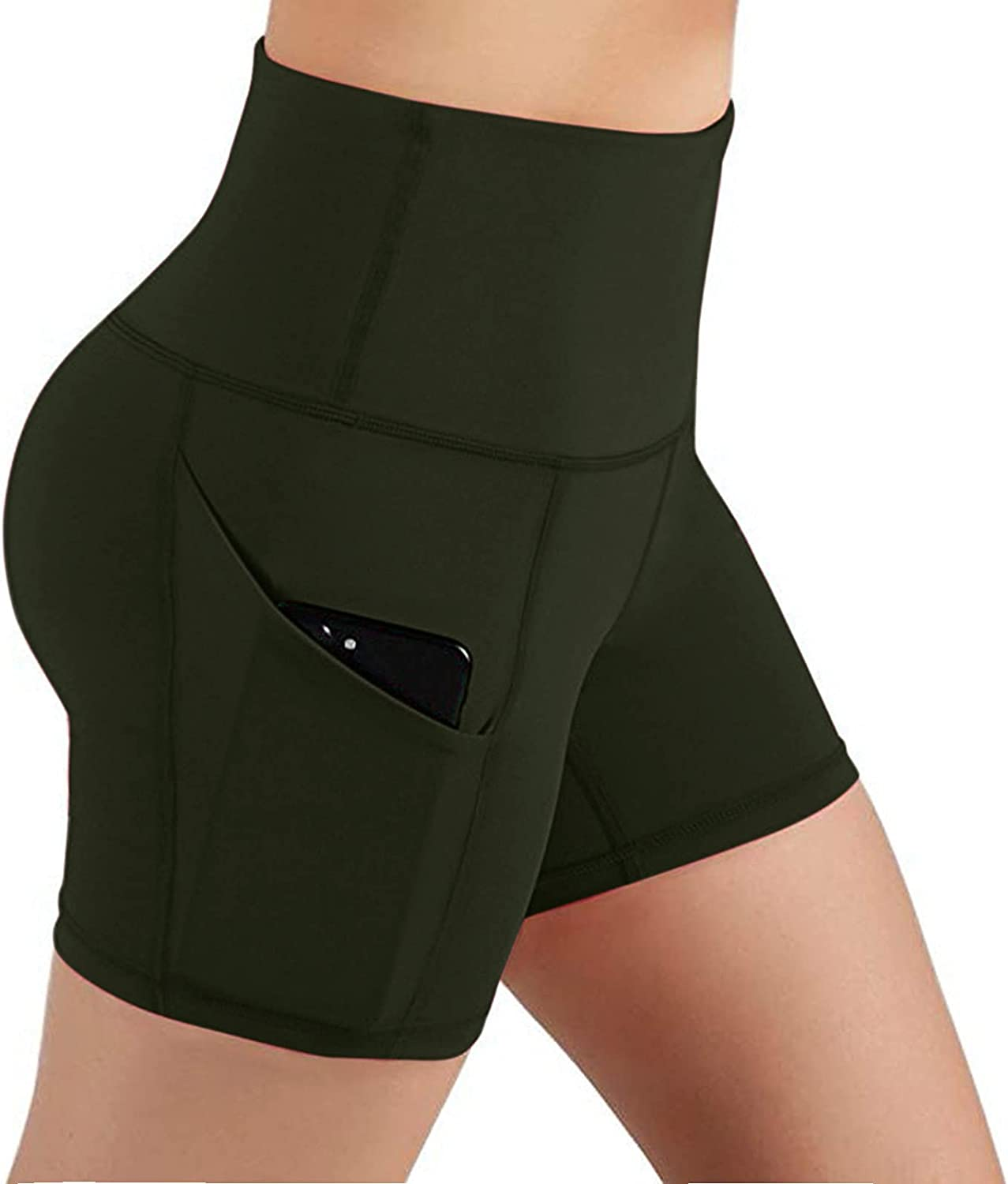 Belcol Women Yoga Shorts, Butt Lifting Tight Splicing Fitness Exercise Activewear Gym Running Workout Leggings with Pocket