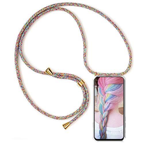 Handykette für Samsung Galaxy S6 Edge Hülle, Necklace Handyhülle mit Band Kordel Umhängen Handyanhänger Halsband Lanyard Durchsichtig Silikon TPU Gel Schutzhülle Anti-Shock - Rainbow