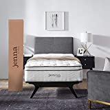 "Modway Jenna 10"" Twin Innerspring Mattress Quality Quilted Pillow Top-Individually Encased Pocket Coils-10-Year Warranty, Twin, White"