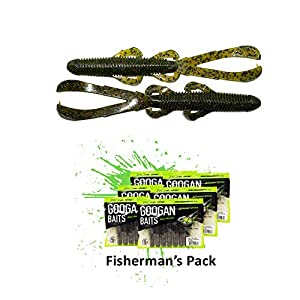 Googan Baits Trench Hawg, Green Pumpkin - 6 Pack