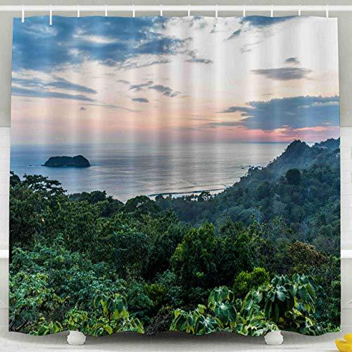 ABRAN Cortina de Ducha, Conjunto de Cortina de Ducha con Ganchos, 72x72inches Sunset Tropical Pacific Coast Manuel Antonio Costa Rica Decoración a Prueba de Agua Baño
