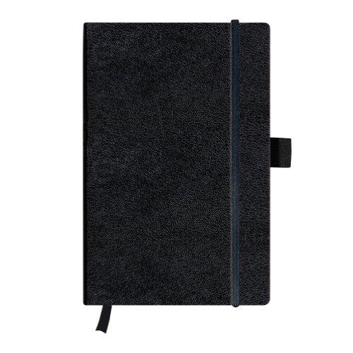 Herlitz My Book Carnet de notes A5 feuilles lignées avec Carnet à couverture rigide avec ruban et Passant à stylo-Noir