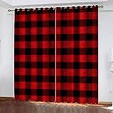 MXYHDZ Cortinas Opacas de Salon - Estampado de Cuadros Rojos Impresión 3D, Dormitorio Aislantes Termicas con Ollaos - 220 x 215 cm para Oficina y salón, Dormitorio habitación de los niños, 2 Piezas