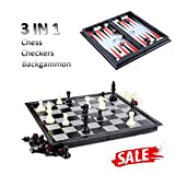 Hoshin Chess / Checkers / Backgammon 3 in 1 Set, Portable Folding Travel Magnetic Chess Board for Kids, 9.8 x 9.8 x 0.8 Inch
