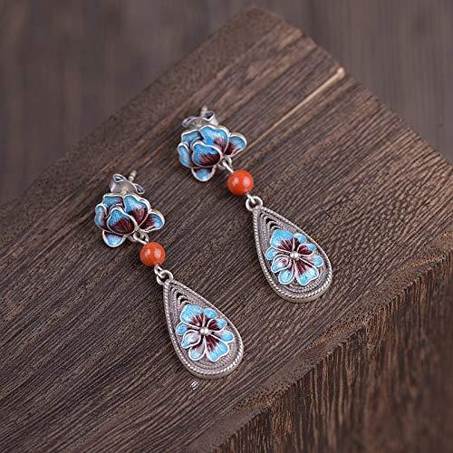 ESCYQ Women Earrings,925 Sterling Silver South Red Peony Flower Burn Blue Pendant Design for Women Earrings Simple Temperament Accessories Friends Dance Party Dinner Gifts