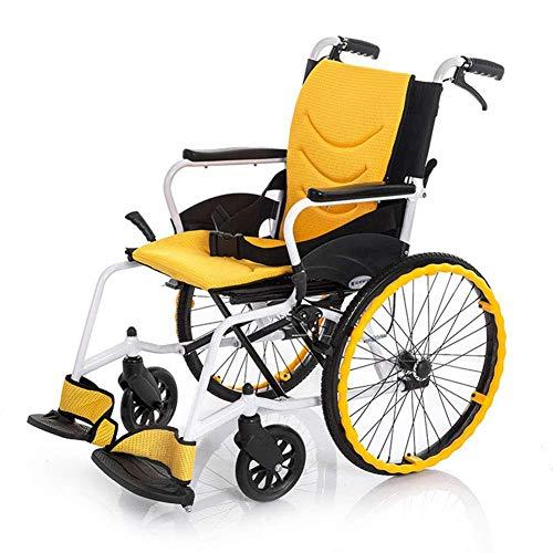 ZCYXQR Sedie a rotelle in Lega di Alluminio Leggera Sedia a rotelle Pieghevole con Freno a Mano Elettrico umanizzato Sedie a rotelle da Viaggio manuali Adatte (Viaggio conveniente)