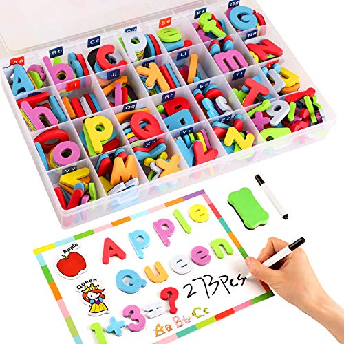 Morfone 273PCS Magnetic Letters Numbers Set with Magnetic Board Storage Box, Foam Alphabet Letter ABC Cartoon Refrigerator Magnets Educational Toys Preschool Learning Tools for Toddlers Kids Children