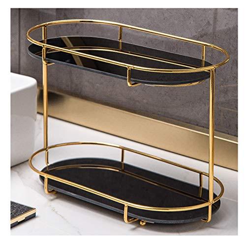 XXIOJUN-Bathroom Shelves, Wear-resistant, Durable, Light Luxury, Phnom Penh Does Not Rust Waterproof And Moisture-proof Double Storage, Handle Design, 4 Colors (Color : Black, Size : 34x17.5x25cm)