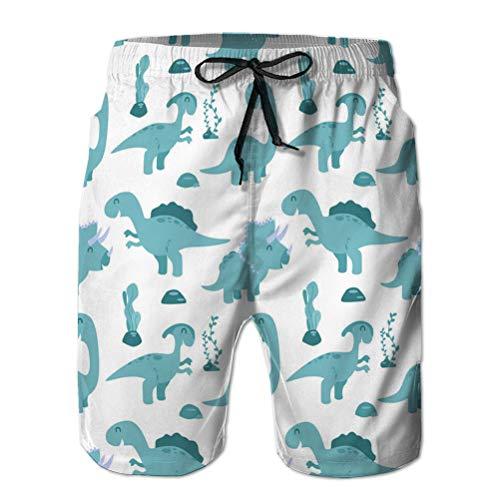 Xunulyn Pantaloncini da Bagno Corti da Spiaggia da Uomo, Modello Senza Cuciture con Dinosauri dei Cartoni Animati