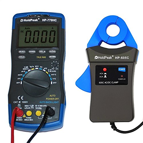 HoldPeak Digital Multimeter HP-770HC mit mA Zangenadapter HP-605C Stromzange AC DC TrueRMS 6000 Counts Zubehör Grau/Blau