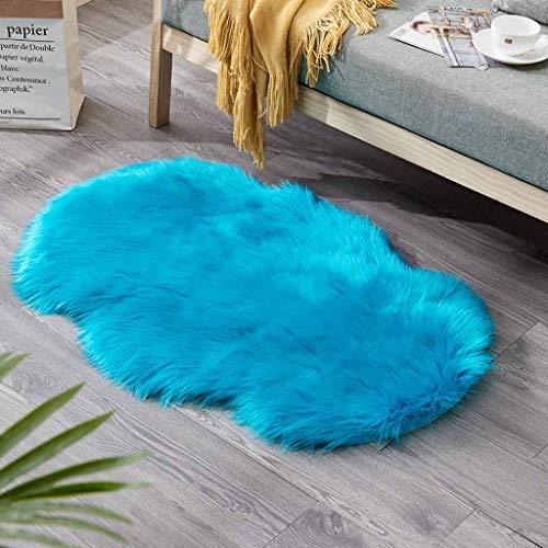 ToDIDAF Faux Fur Rutschfester Teppich Wolle Nachahmung Schaffell Teppiche Flauschige Matte Hochflor Teppich für Wohnzimmer Schlafzimmer Kinderzimmer Babyzimmer Balkon Dekor, 60 x 90 cm (Blau)