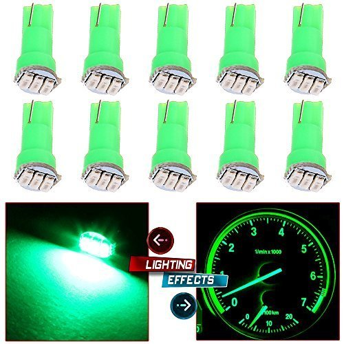 cciyu 10 Pack Car T5 3SMD 3014 Instrument Dashboard Green LED Bulbs light 17 37 73 2721 74 Fit 1992-2003 Subaru SVX Impreza Legacy SVX Forester 1993 1995 Plymouth Acclaim 1999 Suzuki Grand Vitara