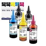 Exsun Botellas de Tinta de Universales Recargables para Cartuchos de Tinta Recargables Canon, HP y Sistemas de Impresora CISS, 100ml Cada 5 Botellas (2 Negro/1 Cian/1 Magenta/1 Amarilla)
