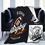 N/A Ultra-Soft Micro Fleece Blanket Lightweight Quilt Keep Warm Fabric Ovale Rugby Ball Super League Banner University Player Print Sign Amateur Championship Sportswear Branding