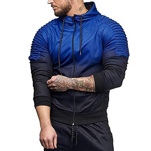 MORCHAN Automne Hiver Long Hommes Manches de Splicing Fold Haut à Capuche Chemisier Survêtements(Large,Bleu)