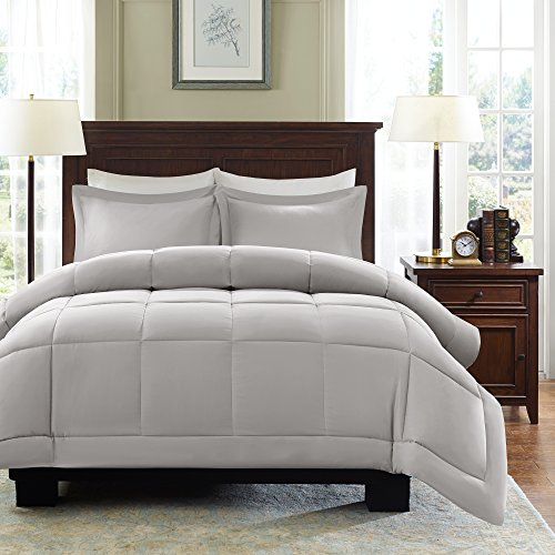 Madison Park Sarasota All Season Microcell Down Alternative Box Quilted Comforter Mini Set, King/Cal King, Grey