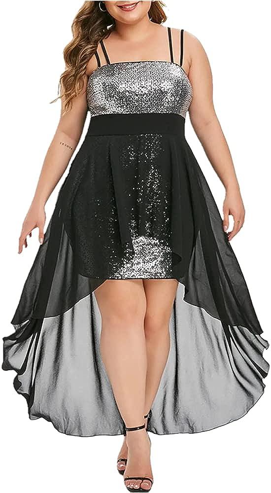 TiffyDance Women's Plus Size Wedding Swing Midi Dress Sequined Sling Tube Top Banquet Evening Dress