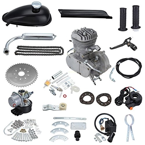 PanelTech 48CC 49CC 50CC 2 Stroke Engine Gas Kit fits 26' 28' Motorized Mountain Bicycle Bike (Black)