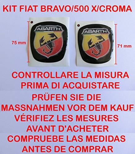 GTBTUNING Bravo Abarth Kit Adesivo Stickers Logo Stemma Badge Fiat Bravo Anteriore + Posteriore RESINATO Effetto 3D Adesivo 3M dal 2007 in Poi Cofano Baule