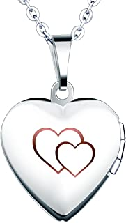 Yumilok Stainless Steel Double Hearts Engraved Pink/Blue Open Heart Photo Locket Memory Pendant Necklace for Women/Girls/Couples