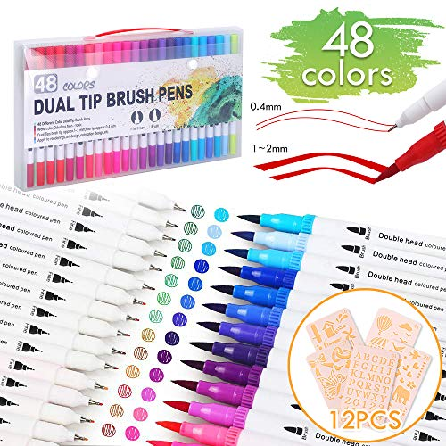 Calligraphy Pens for Adults Kids Beginners Perfect for Painting and Colouring Lehoo Castle Watercolour Brush Pens with Soft and Flexible Nylon Tip 48+2Brush Pens for Colouring