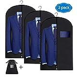 Qhui 3 x Kleidersack Anzug 100 x 60 cm, Kleiderschutzhülle mottensicher mit Reißverschluss, hochwertige Kleidersäcke Kleiderhülle atmungsaktiv für Reise Abendkleid Hochzeitskleid Jacken Sakko Anzüge