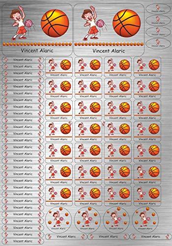 INDIGOS UG® SET A4 - Aufkleber Namen - Edelstahllook - 69 hochwertige Sticker - 097 - Basketball - für Schule, Kindergarten, Hefte, Bücher - Stifte, Federmappe, Lineale - personalisiert