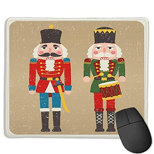 Gaming Mouse Pad Benutzerdefiniert,Geschichte Weihnachten zwei farbige Nussknacker Feiertage Spielzeug Retro Vintage Dru,Office Rectangle rutschfeste Gummi-Mauspad für Computer Laptop 9.8