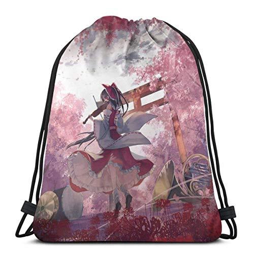 WH-CLA Drawstring Backpack Bags,Princess Mononoke Forest Mask Drawstring Bags Stylish Gym Bag Colorful School Backpack Portable Sack Drawstring For Girls And Boys
