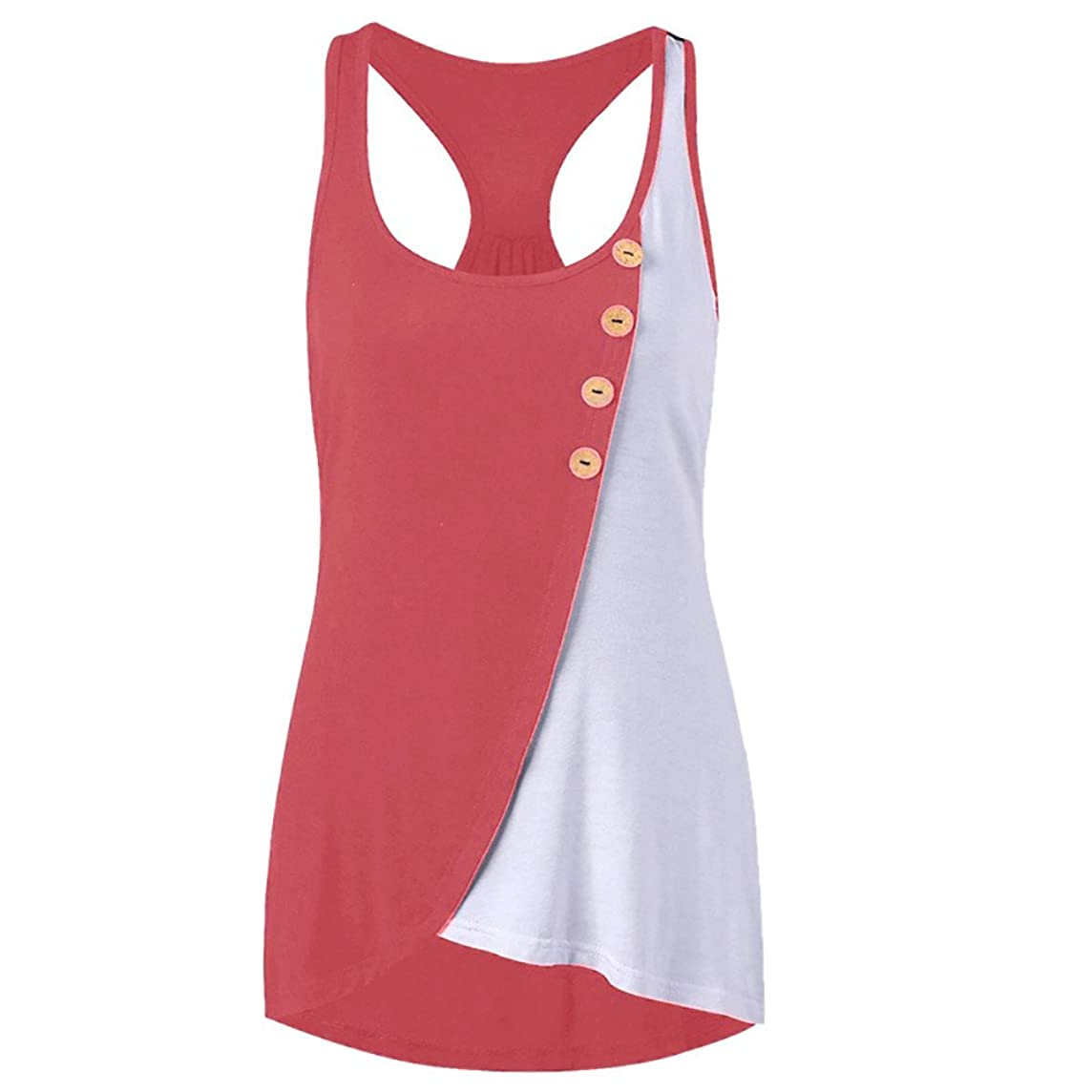 Women Casual Button Top Racer Back Patchwork T Shirt Sleeveless Vest Cami Tank Blouse
