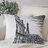Funda De Cojine Funda de Almohada,París, bosquejo de la calle parisina con árboles y Eiffel, famoso paisaje urbano, impresió,Fundas de Cojín con Cremallera - Fundas de Almohada para Sofá y Cama45x45cm